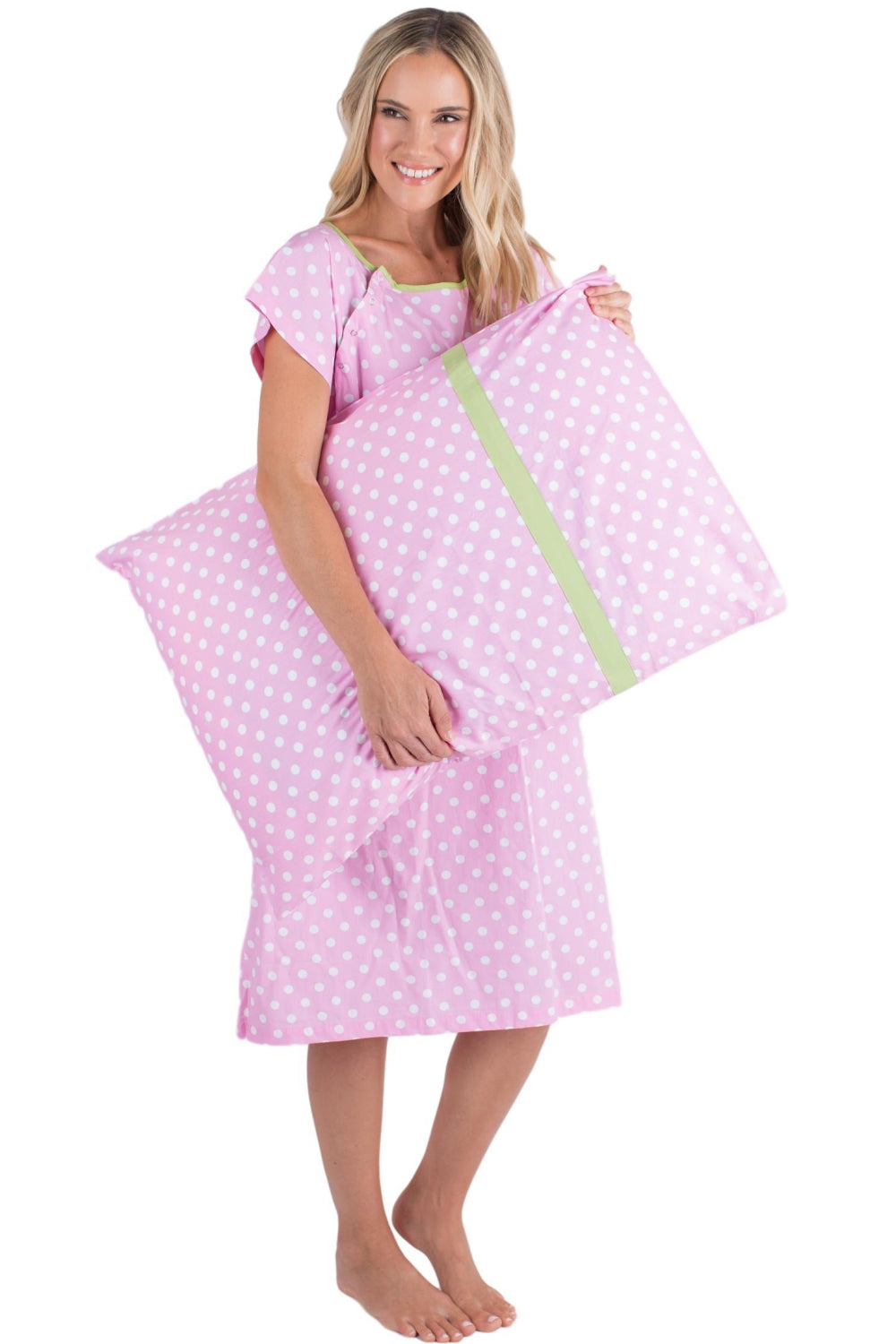 1d8a1671f1d Molly Gownie   Pillowcase Set Maternity Delivery Labor Hospital Gown Pink  Dotted