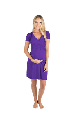 Baby Be Mine The Allison Ultra Soft Maternity & Nursing Nightgown Dress Eggplant
