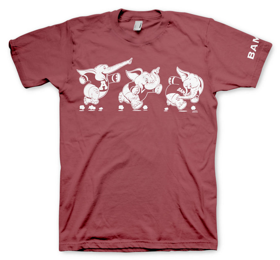 Retro Elephants on Crimson Comfort Colors