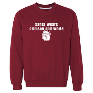 Santa Wears Crimson and White Sweatshirt