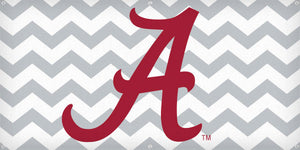 Script A on Gray Chevron - 3ft x 6ft