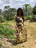 MOTHER AFRICA dress / RADICAL ROOTS hip-bag / WILD bamboo bangle clutch