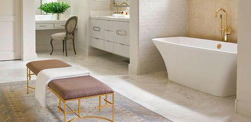 Luxurious white and gold bathroom
