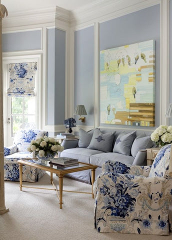 Light blue accents around the living room