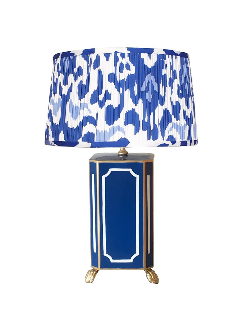 Devon in Navy Lamp with Pleated Blue Ikat Shade