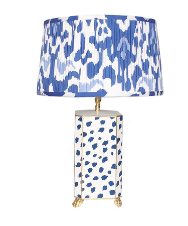 Navy Fleck Lamp with Pleated Blue Ikat Shade