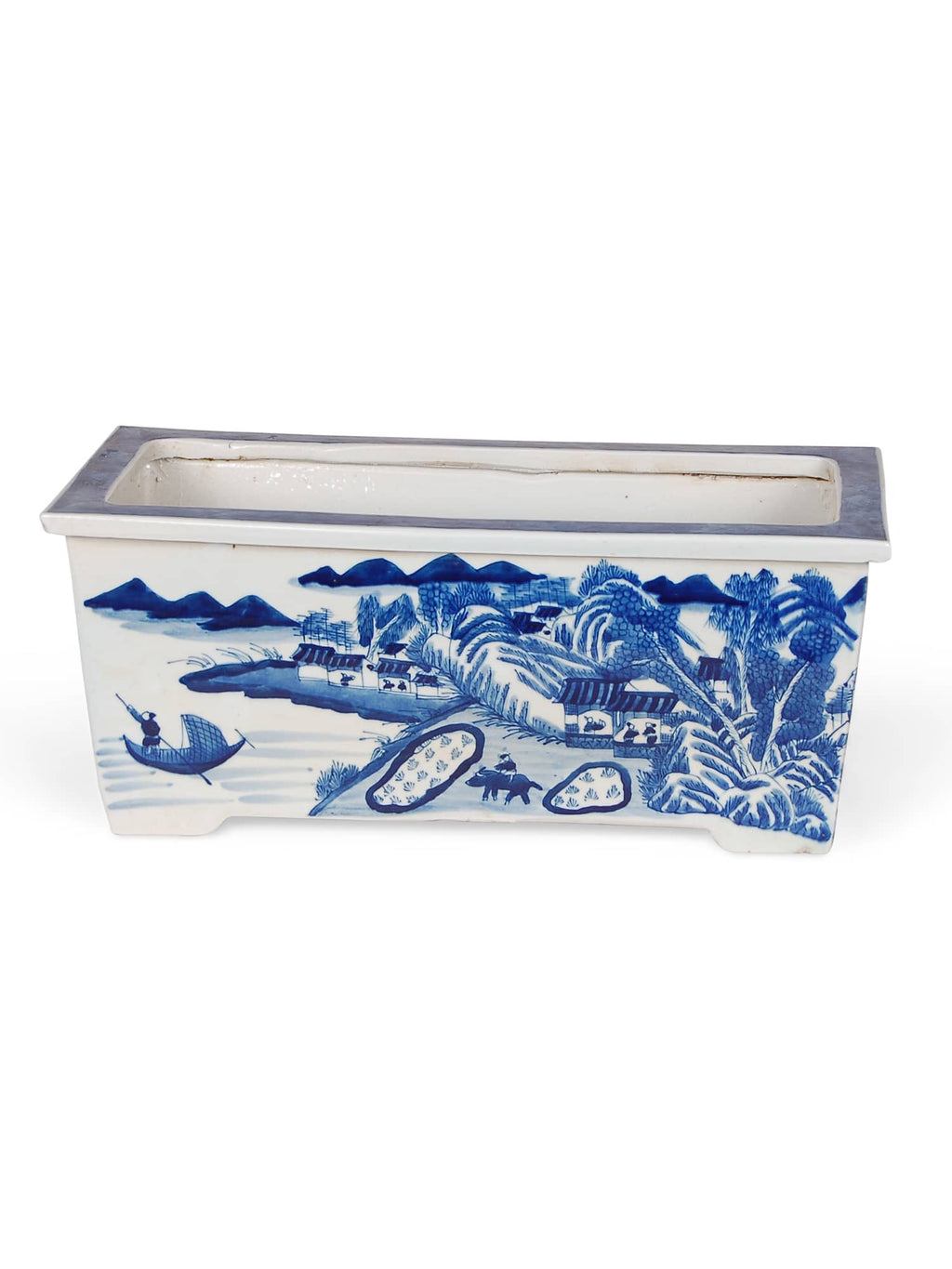 Blue and White Rectangular Planter