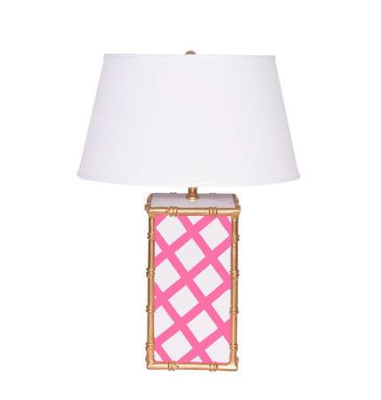 Bamboo Lattice Pink Lamp