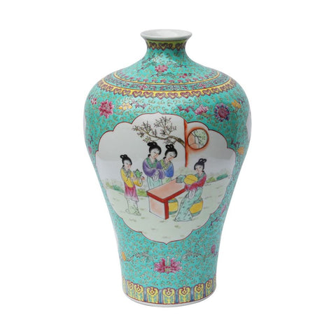 Teal Plum Porcelain Vase Ladies Madallion