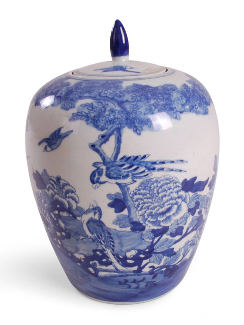 Blue and White Bird and Flower Melon Jar