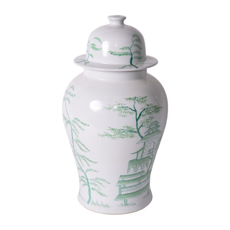 White Temple Porcelain Jar with Green Chinoiserie Motif