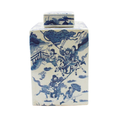 Blue & White Warrior Square Tea Porcelain Jar