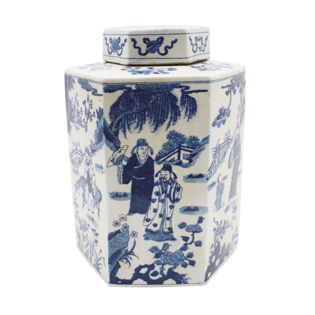 Blue & White Hex Tea Porcelain Jar Ancient People