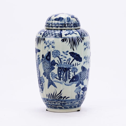 Blue & White Fluted Tea Jar Fish Motif