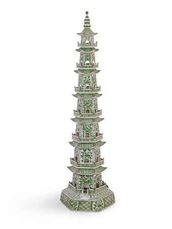 Green and White Pagoda Tower