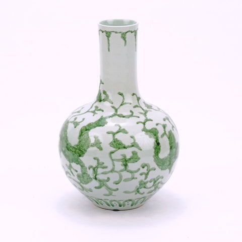 Celadon Dragon Lotus Globular Vase