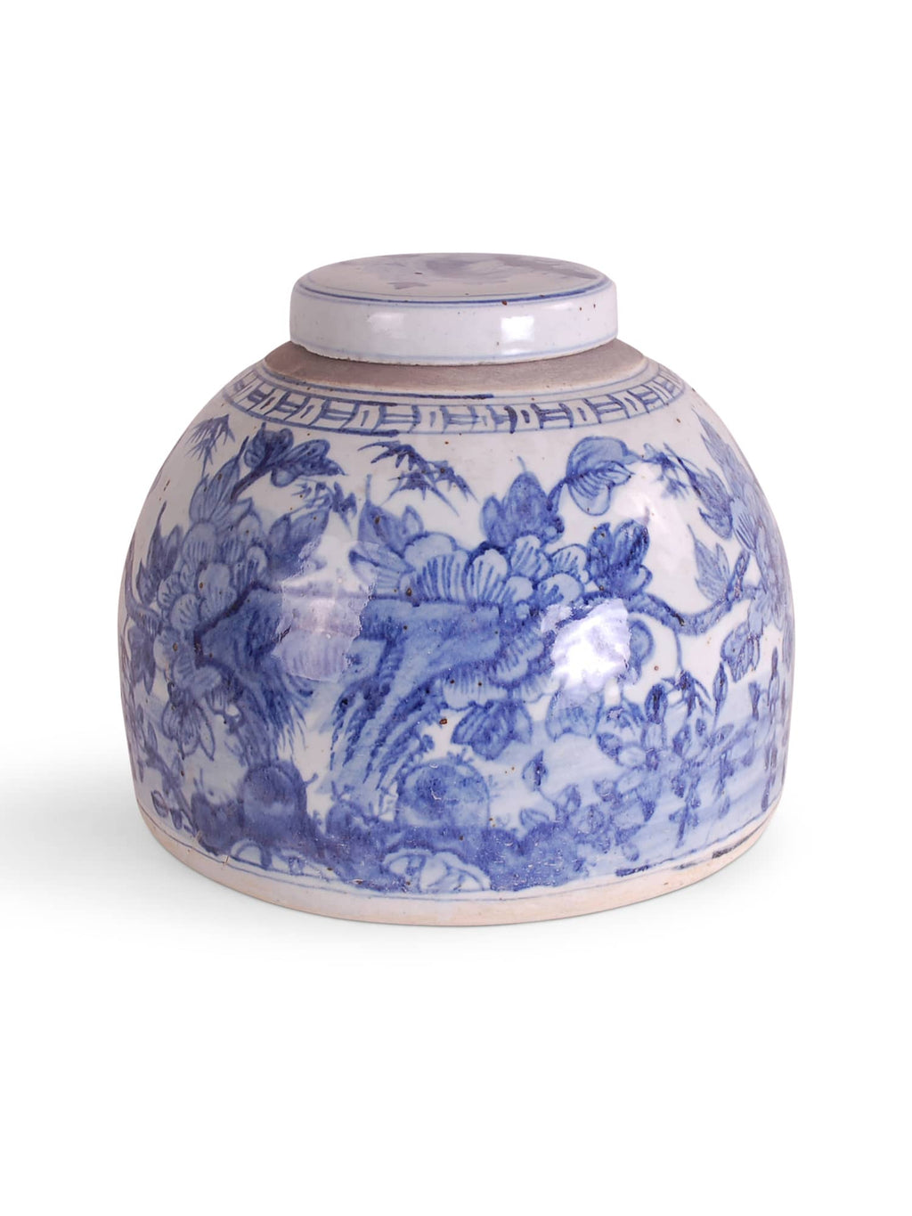 Blue and White Bird and Flower Jar