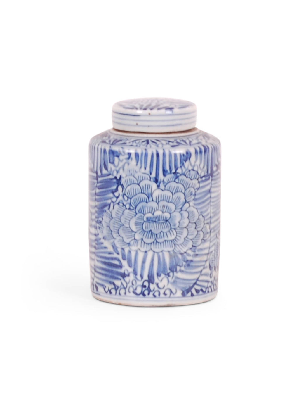 Blue and White Jar with Palm and Floral