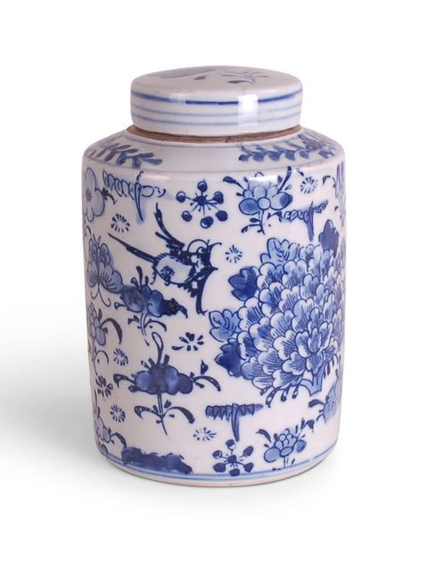 Blue and White Birds and Flowers Jar