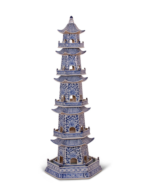 Blue and White Pagoda Tower
