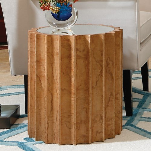 Reflective Column Side Table in Olive Ash Burl