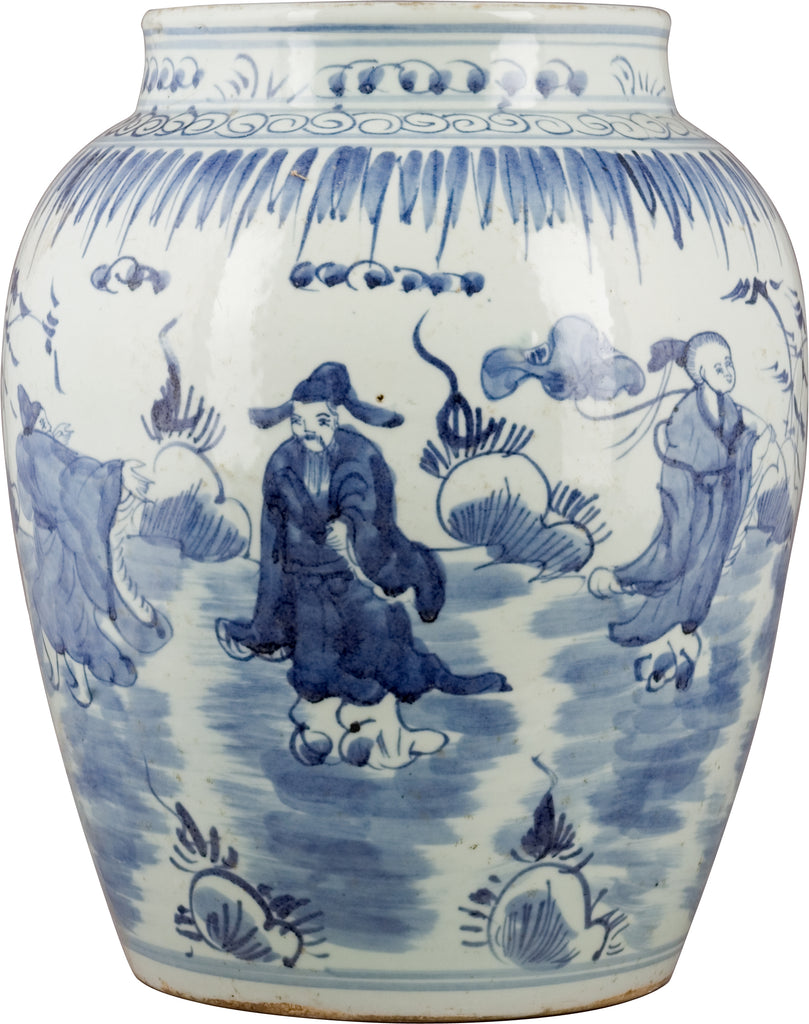 Blue and White Open Ginger Jar