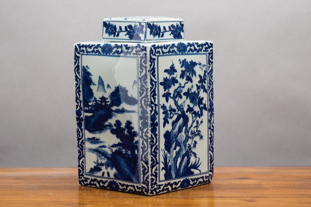 Blue and White Square Jar