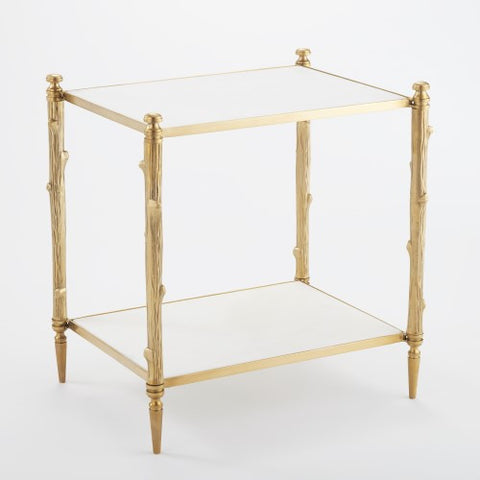 Arbor Side Table-Brass & White Marble