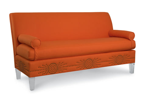 Marguerite Sofa with Starburst and Acrylic Legs in Martin Cobalt