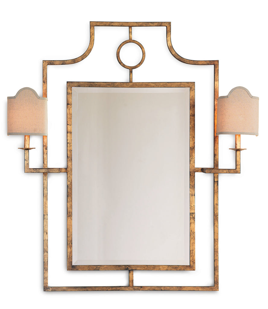 Doheny Gold Mirror with Sconces