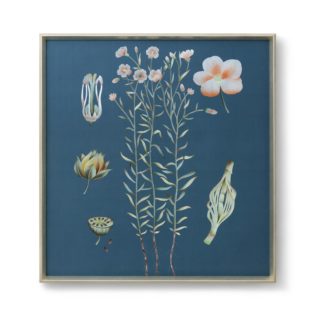 Auer Framed Silk Panel in Blue