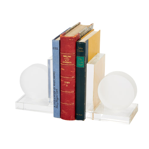 Frosted Crystal Round Bookends