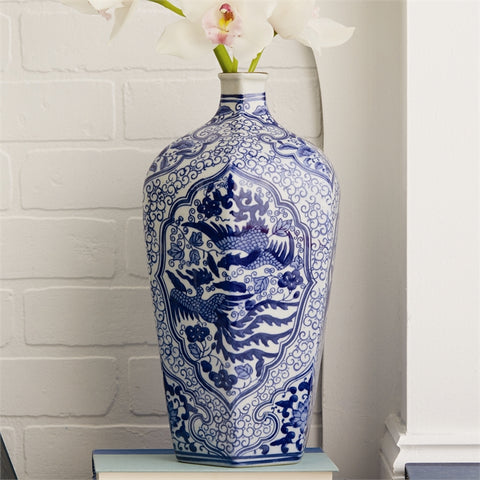 Blue and White Phoenix 6 sided vase