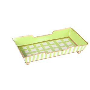 Basketweave Green Guest Towel tray