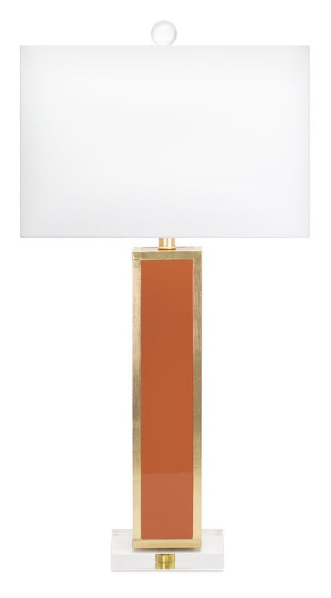 Blair Glossy Orange Lacquer and Gold Leaf Table Lamp