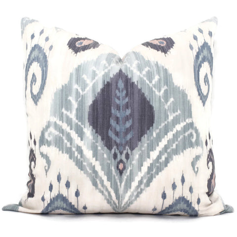 Blue and Blush Ikat Pillow