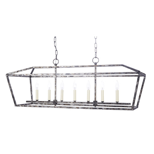 black metal chandelier. Harmon Rectangular Metal Chandelier With Distressed Silver And Black Finish