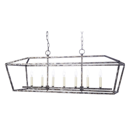 Harmon Rectangular Metal Chandelier with Distressed Silver and Black Finish