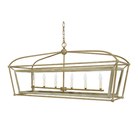 Providence Rectangular Lantern with Silver and Gold Finish