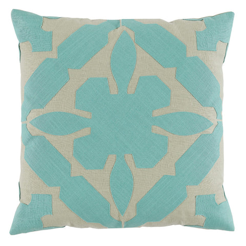 Seafoam Applique Linen Pillow