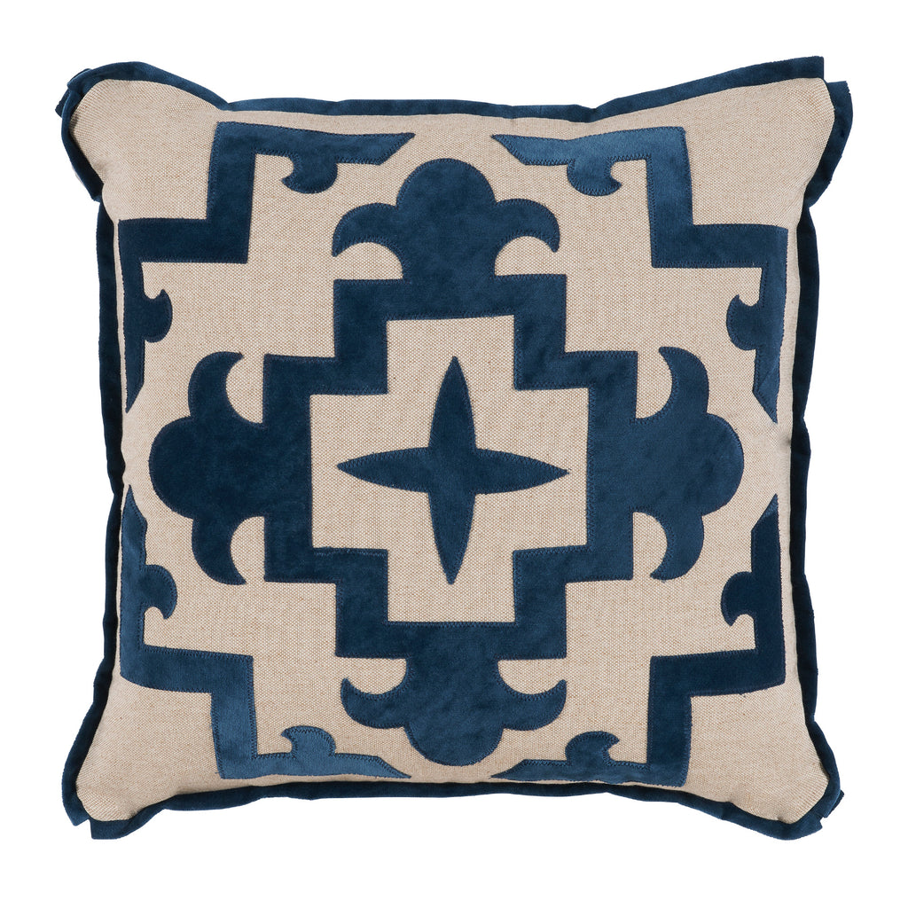 Sultana Denim Velvet Applique Throw Pillow