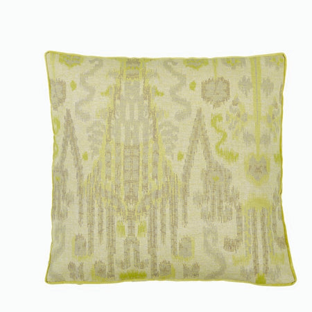Large IKAT Citron with Danish Linen Gusset Pillow