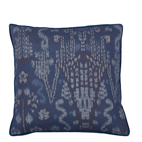 Large IKAT Indigo with Danish Linen Gusset Pillow