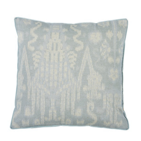 Large IKAT Swedish Blue with Danish Linen Gusset Pillow