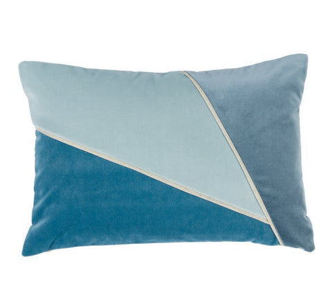 Color Blocked Glass/Cape/Dusty Blue Velvet Lumbar Pillow