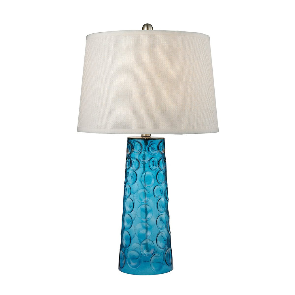 Blue Hammered Glass Table Lamp