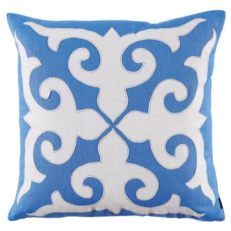 Blue Mosaic Applique Throw Pillow