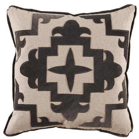 Grey Cream Appliqué Throw Pillow