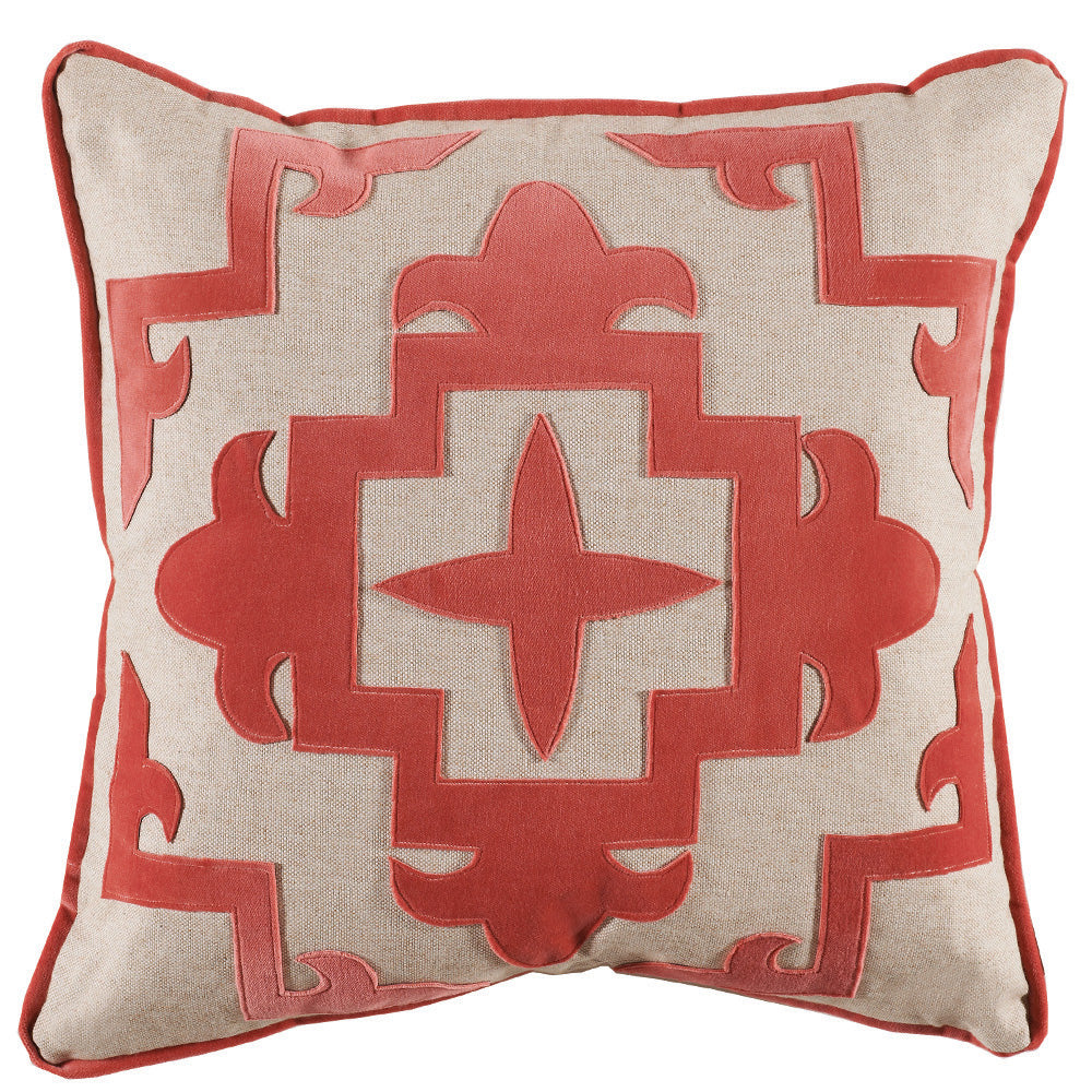Coral Cream Velvet Cream Appliqué Throw Pillow