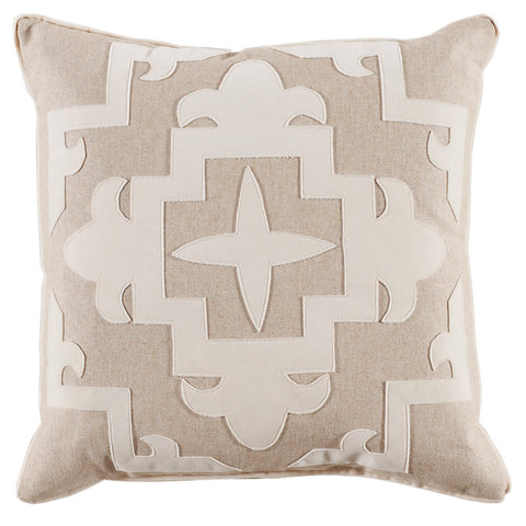 Tan Fleece Velvet Cream Appliqué Pillow